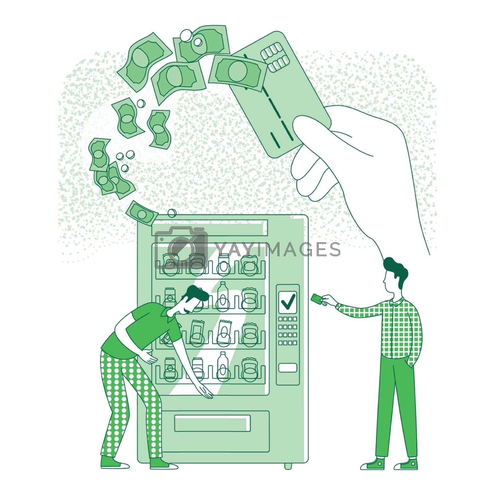 Cashless card thin line concept vector illustration. People making contactless payment at vending machine 2D cartoon characters for web design. NFC, electronic pay technology creative idea