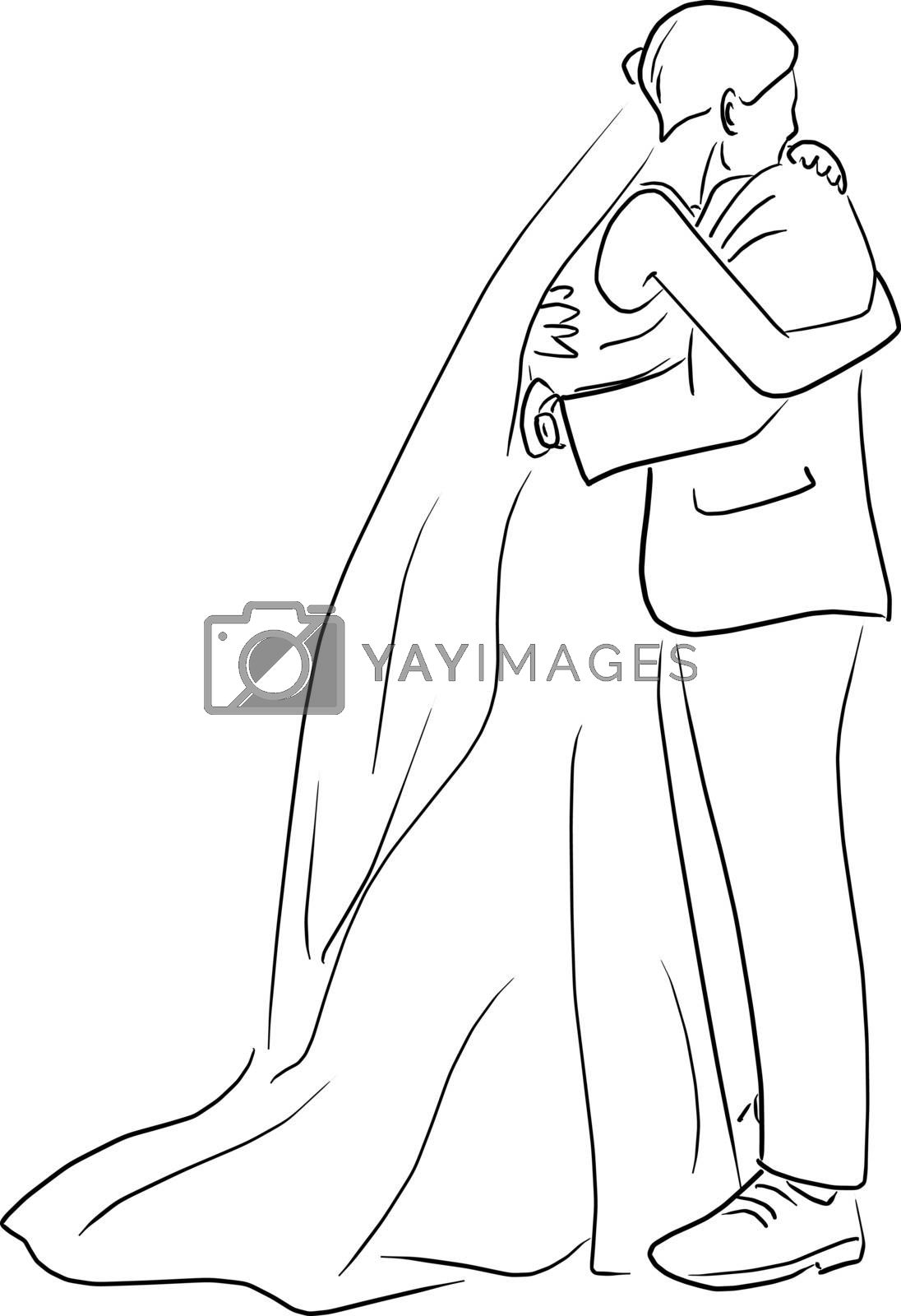 Happy wedding couple embracing vector illustration sketch doodle hand drawn isolated on white background