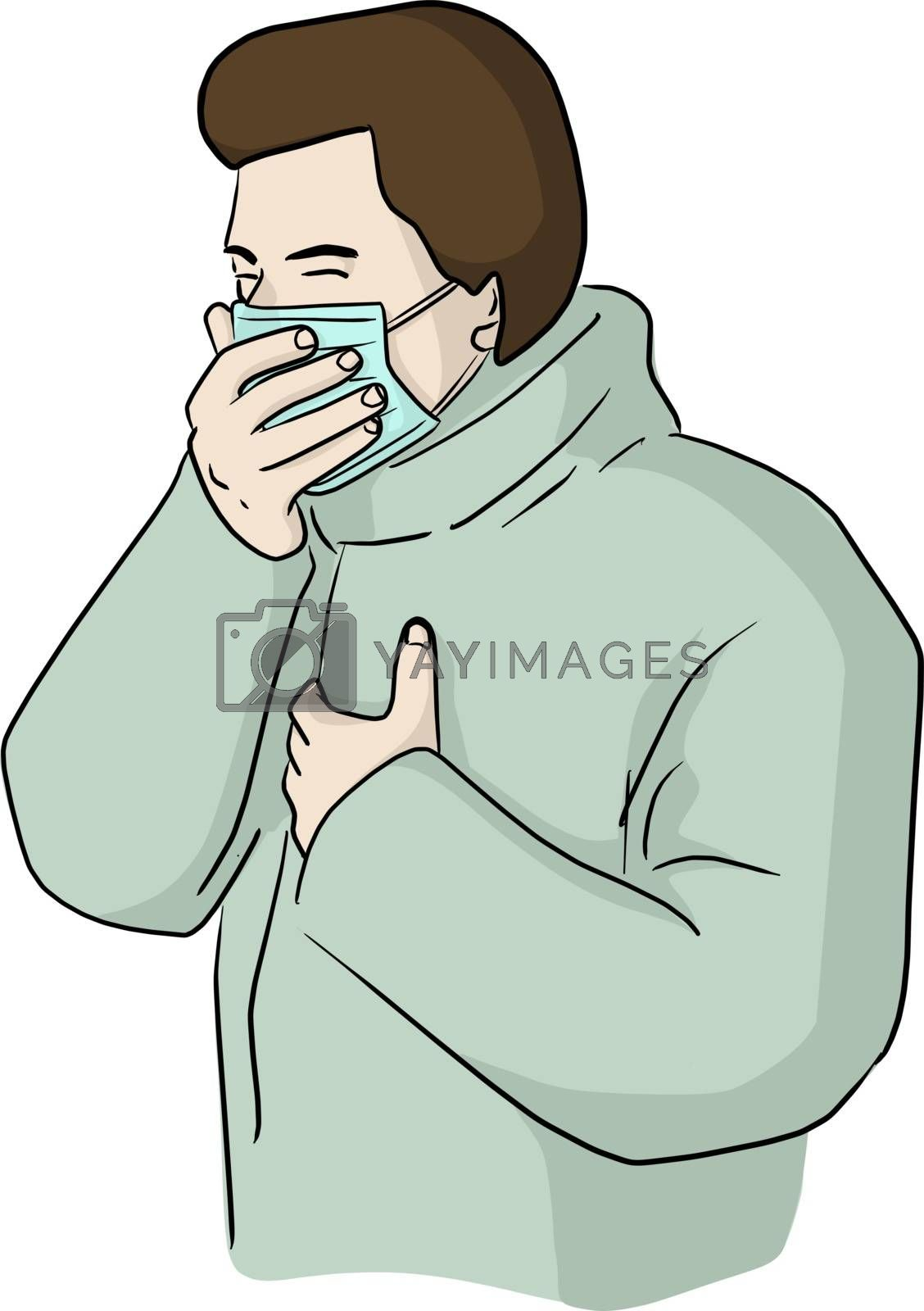 Male patient wearing surgical mask coughing vector illustration sketch doodle hand drawn isolated on white background