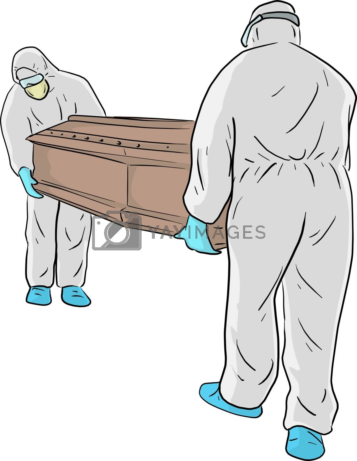 The men in PPE suit (Personal protective equipment) carry the coffin handling for disposal vector illustration sketch doodle hand drawn isolated on white background. Covid-19 situation.