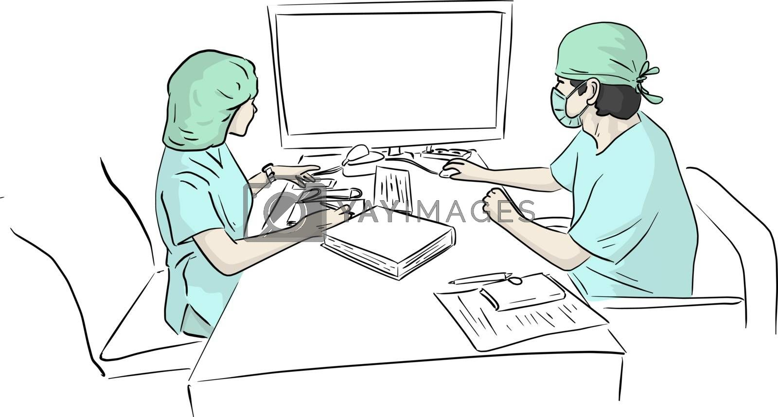 two doctors team working at computer desk in hospital in case of Covid-19 virus vector illustration sketch doodle hand drawn isolated on white background