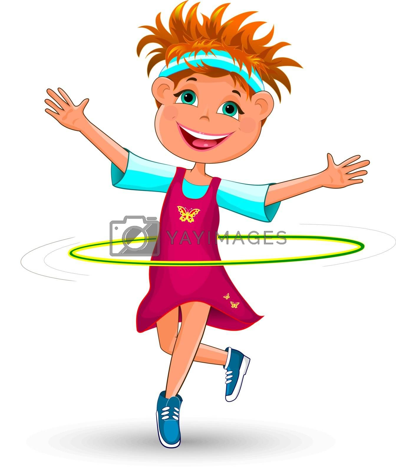 Joyful child with a gymnastic hoop. Smiling girl is doing exercises with a hoop.