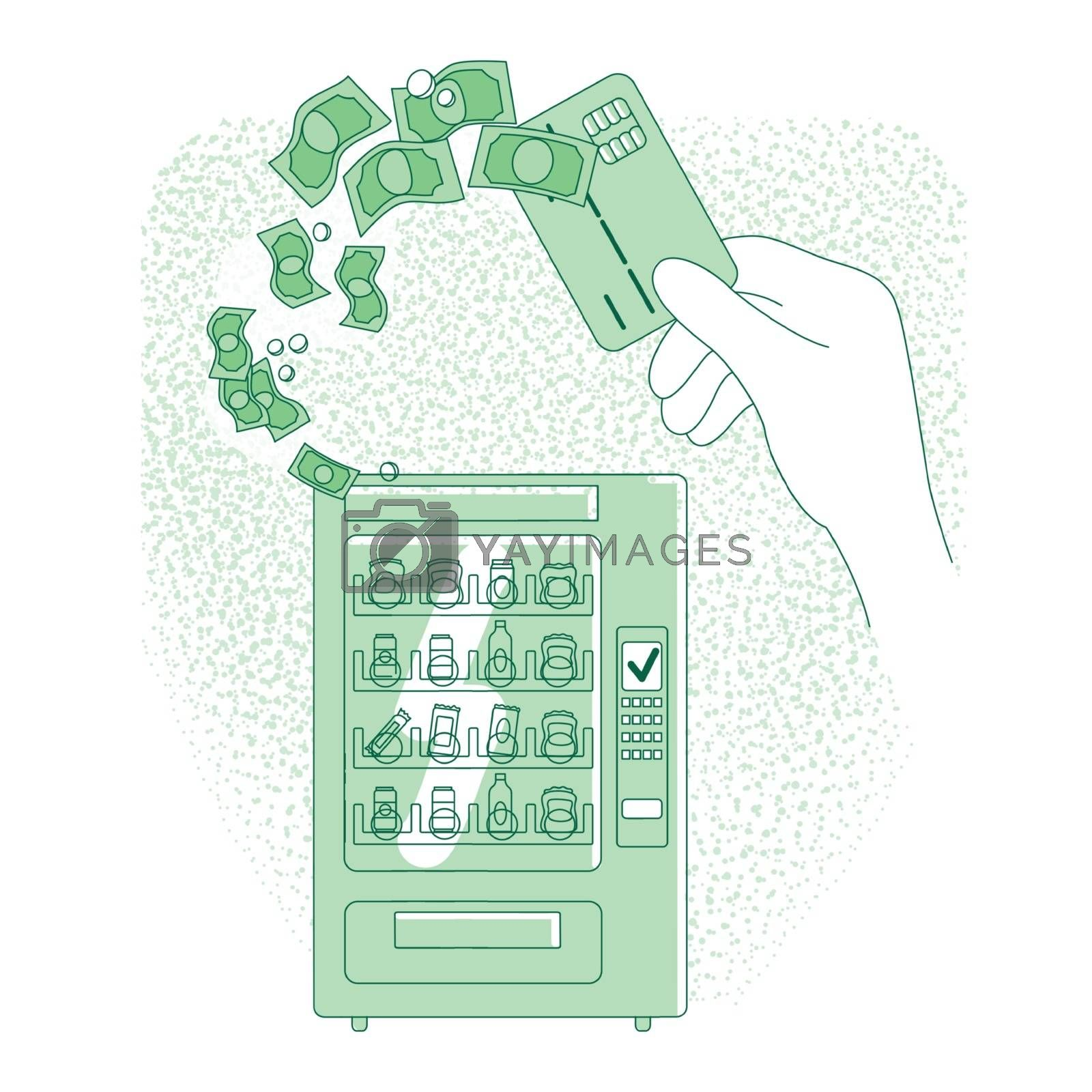 Cashless payment thin line concept vector illustration. People buying vending machine food with contactless credit card 2D cartoon characters for web design. NFC pay system creative idea
