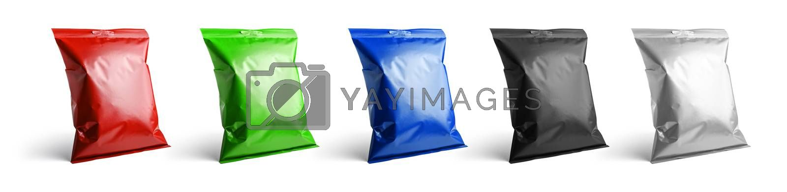 A set of packages in different colors for your design.