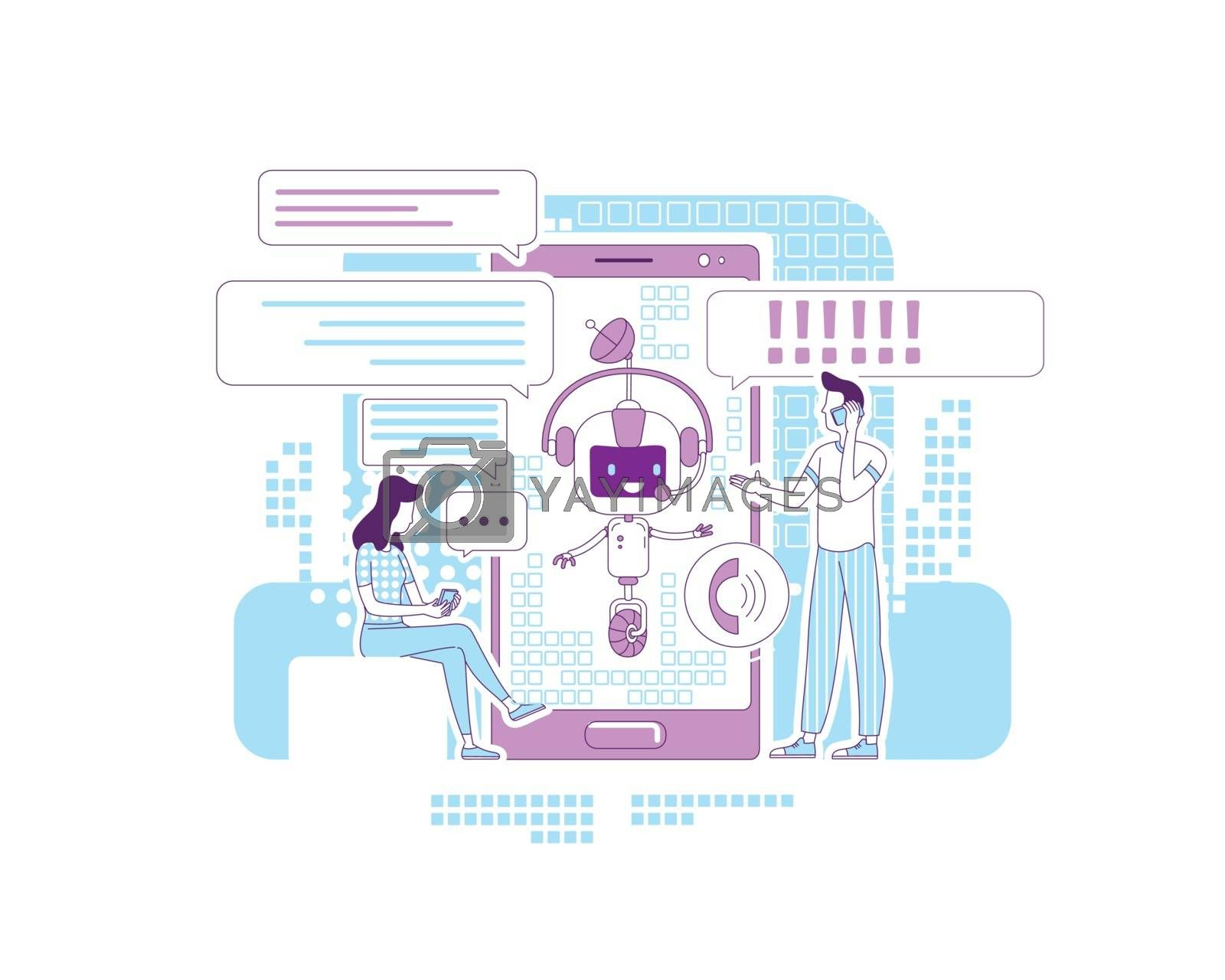 Chatbot app thin line concept vector illustration. Online communication application. People talking with bot 2D cartoon characters for web design. Social networks support service creative idea
