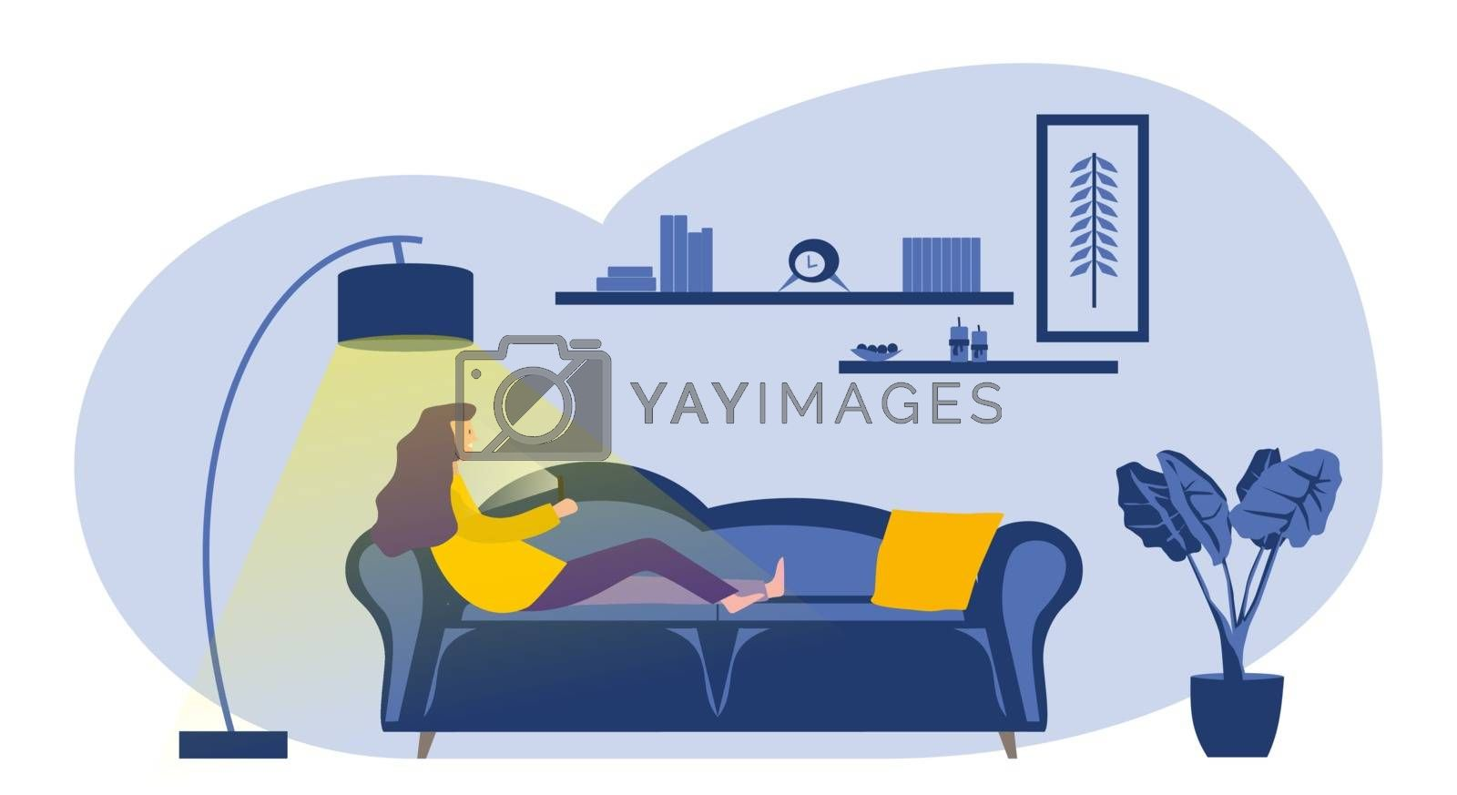 Young woman on the sofa looking at the phone at night with the lamp on. Vector image.