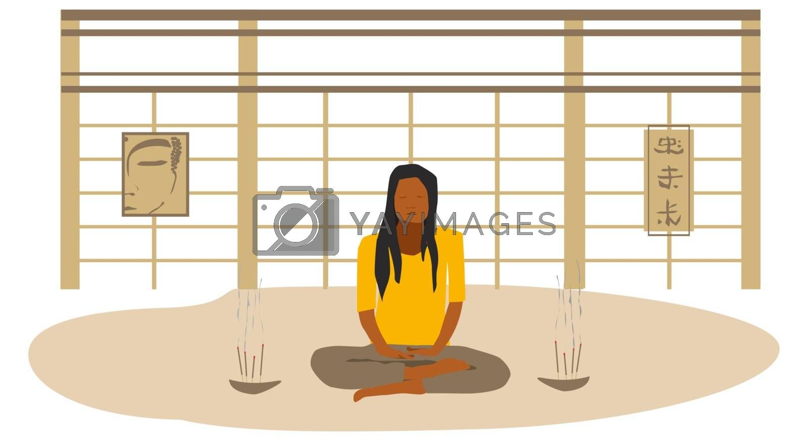 Young woman meditating in an Asian style room. Practicing yoga. Relax. Lit incense.