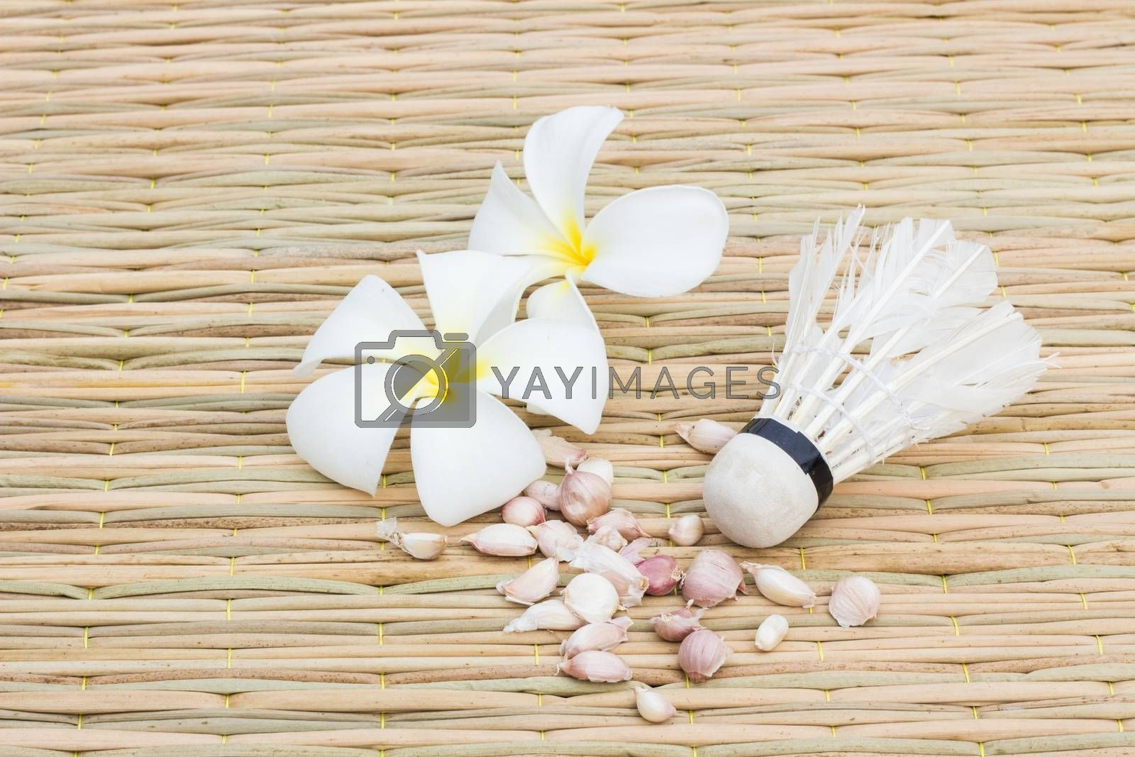 Plumeria garlic and shuttle cock on traditional mat, concept healthy life consists of food and exercise