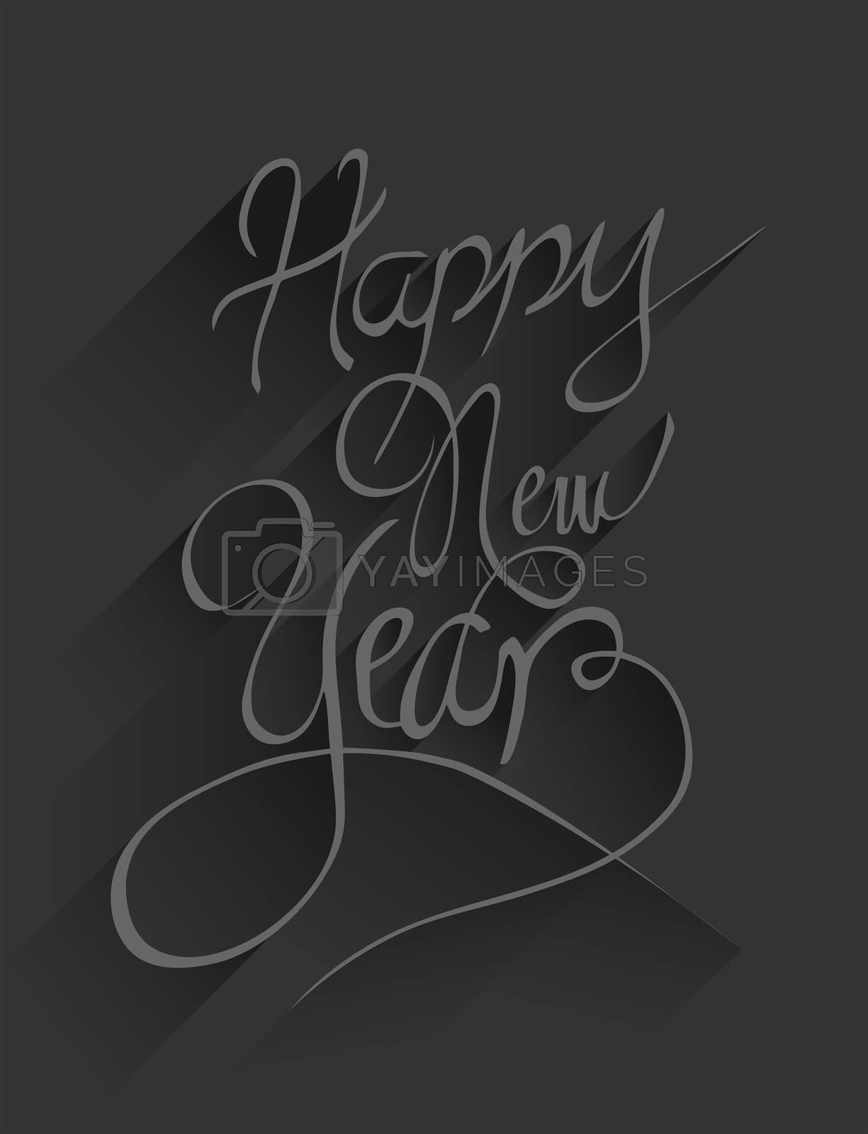 Digitally generated Happy new year vector in embossed black