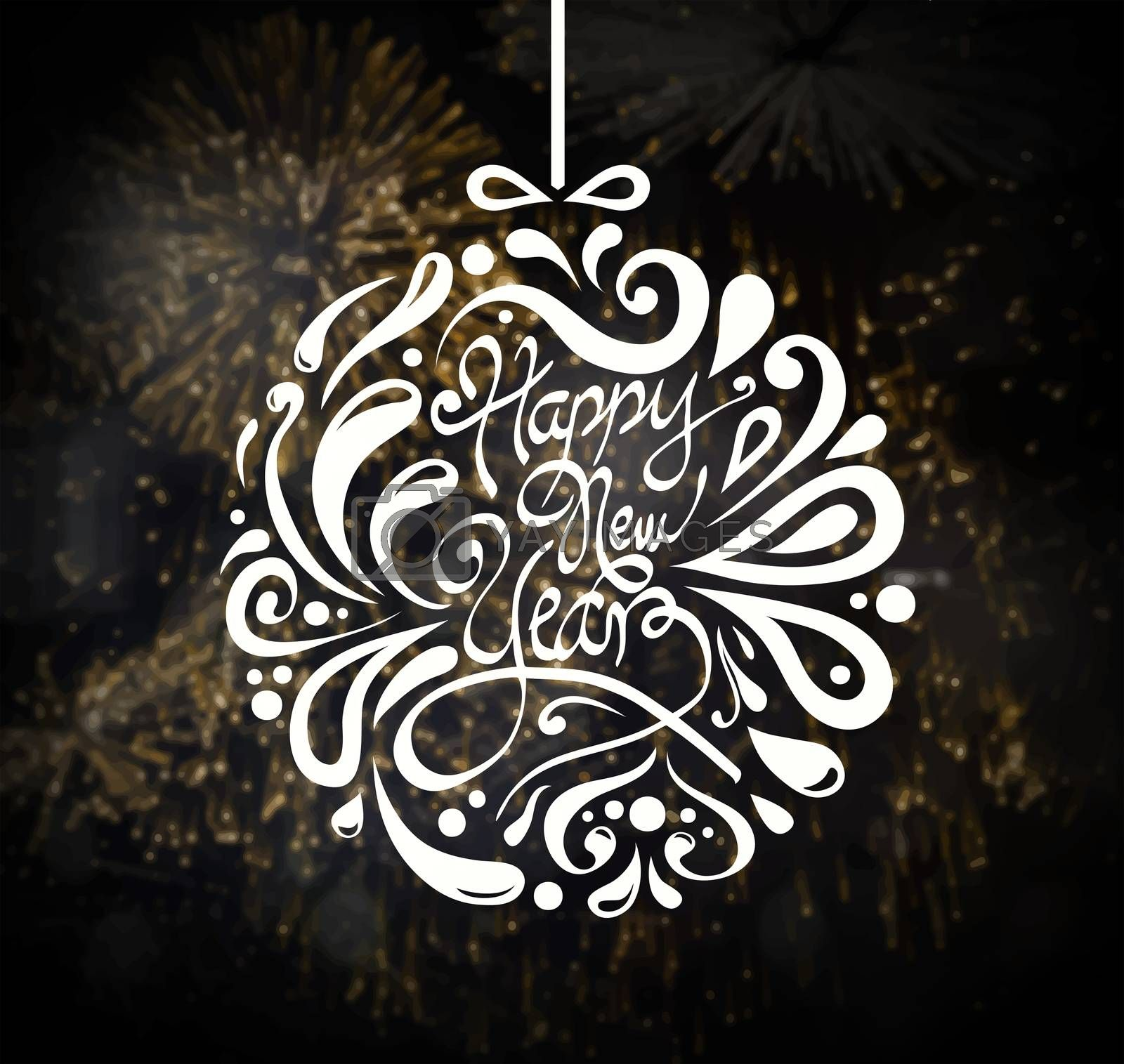 Digitally generated Happy new year vector with fireworks