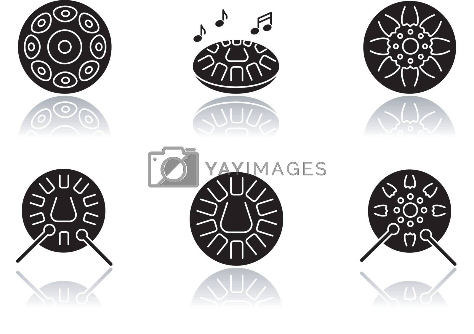 Ornamental handpan drop shadow black glyph icons set by bsd