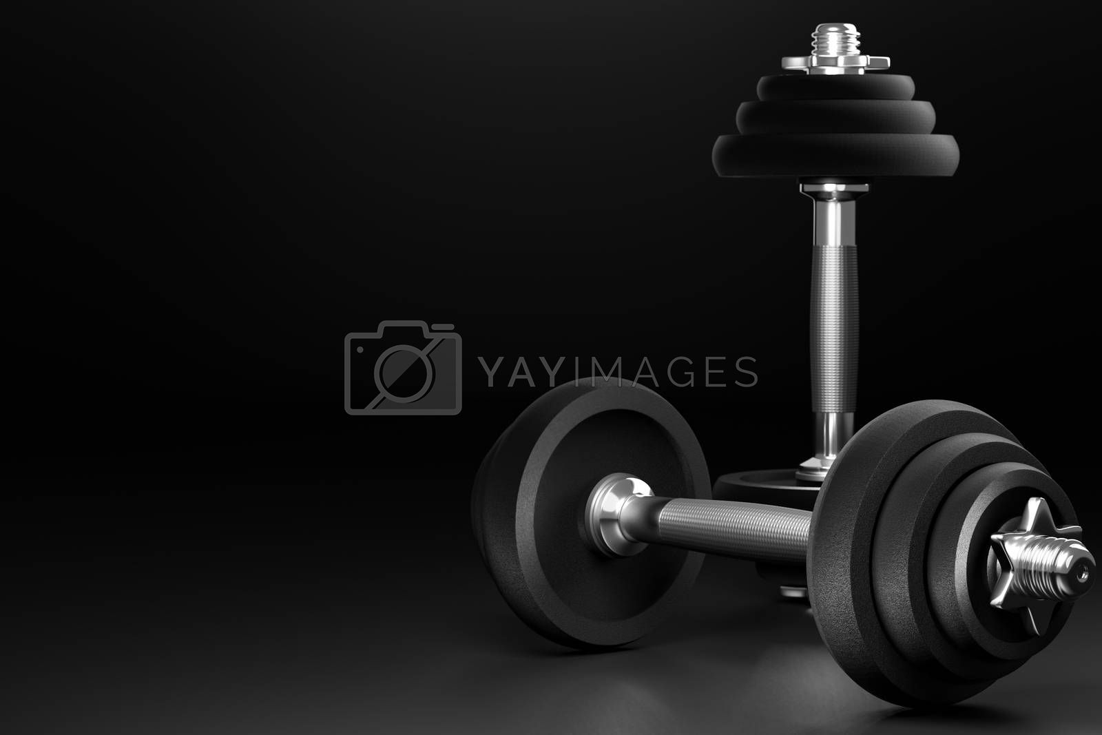 Dumbbell in dark background. Closeup and copy space on left. It is equipment for workout or fitness in gym. Made from iron and a lot of weight. 3D illustrator rendering. Concept of muscle health care.