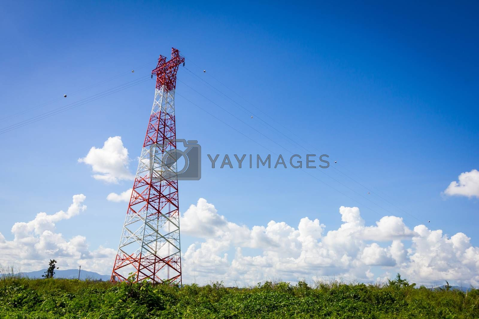telecommunication tower and blue clear sky with copyspace.
