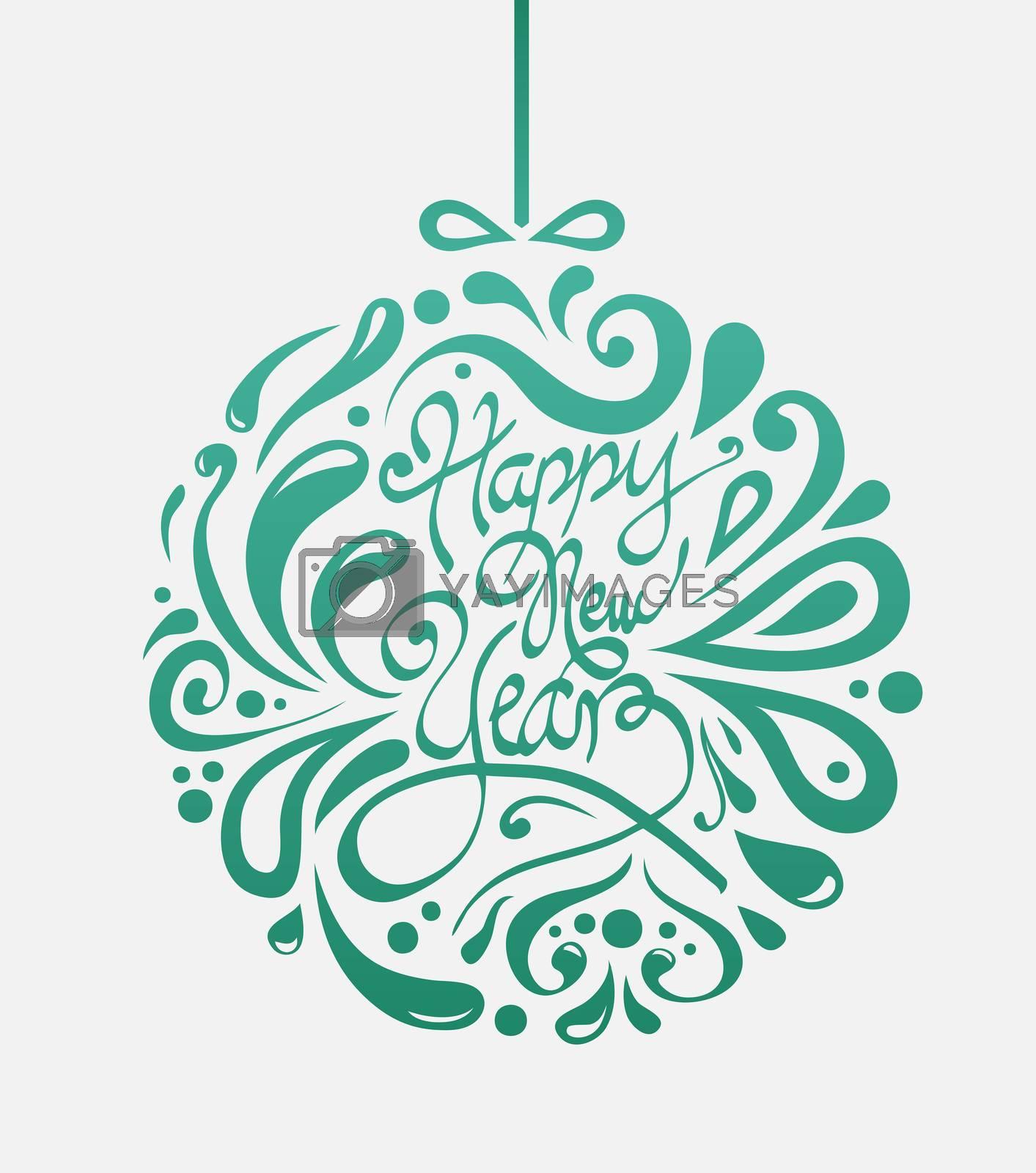 Digitally generated Stylish happy new year design in green