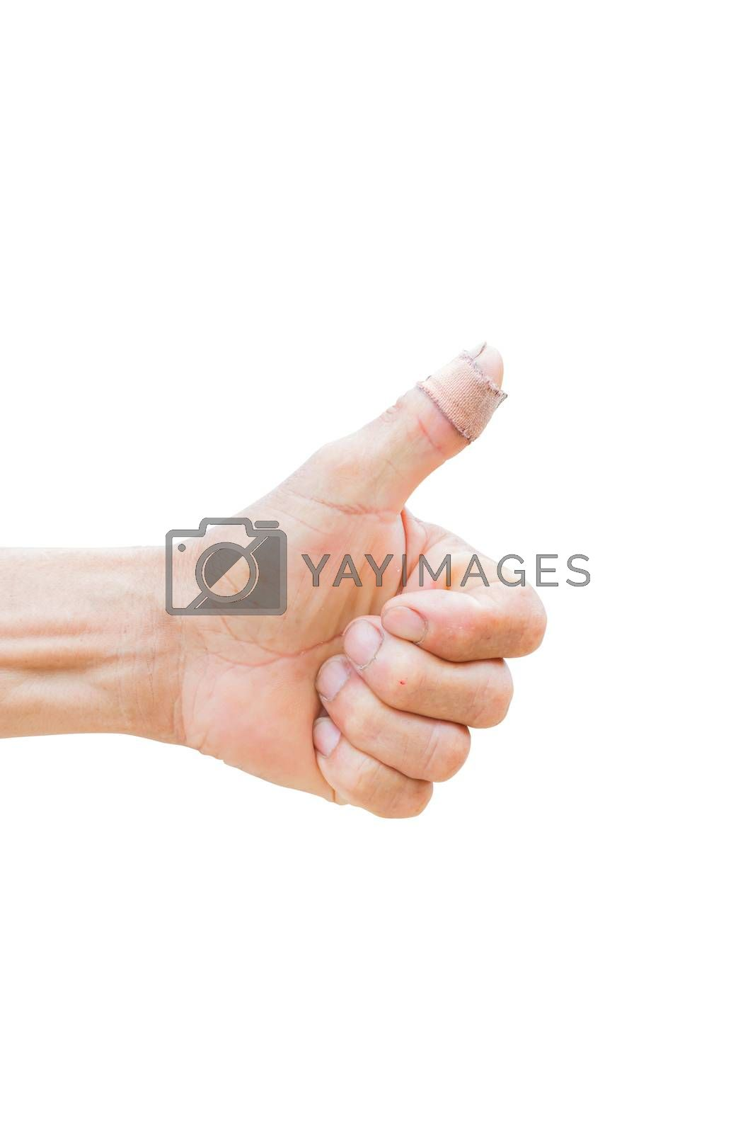 horizontal photo of closeup of farmer's hand showing thumbs up with bandage isolated on white background , clipping path