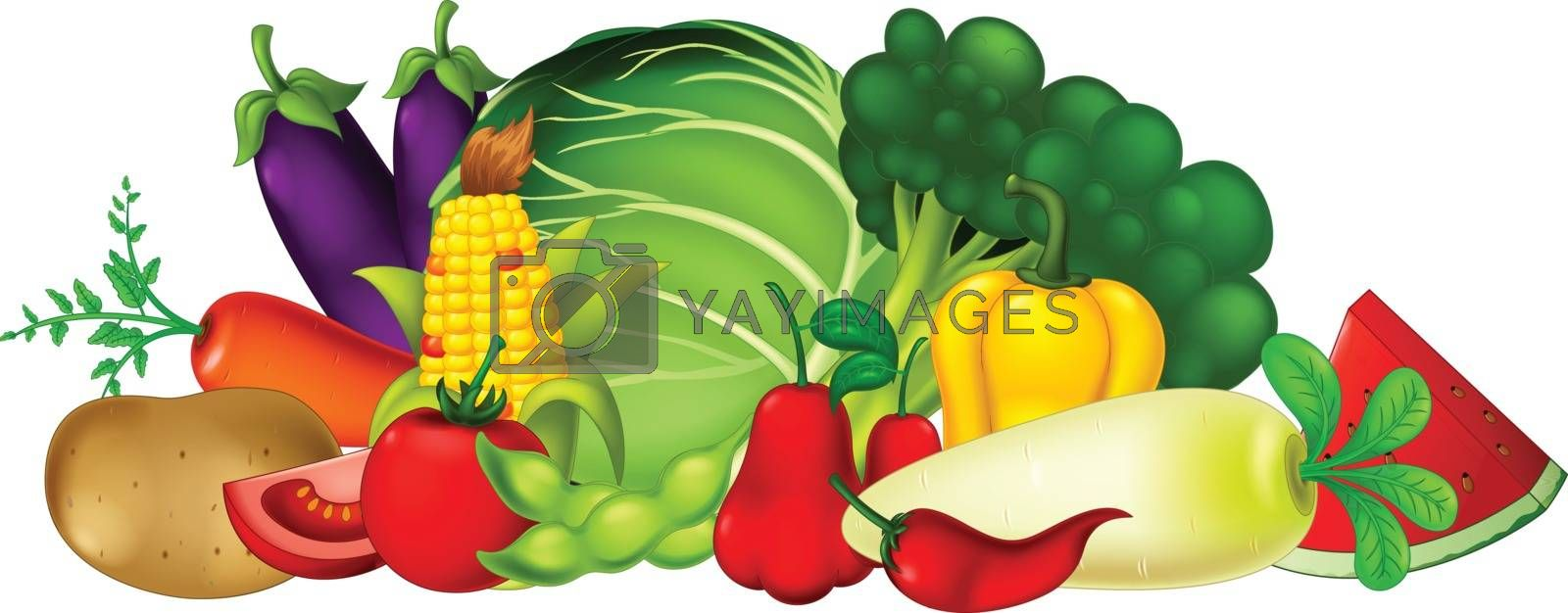 Royalty free image of Fresh Fruit and Vegetable Cartoon Collection Set by sujono