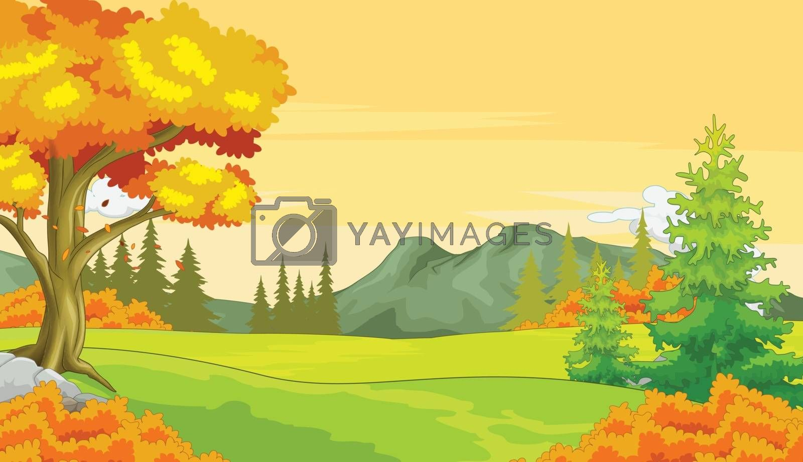 Royalty free image of Autumn Forest View Background by sujono