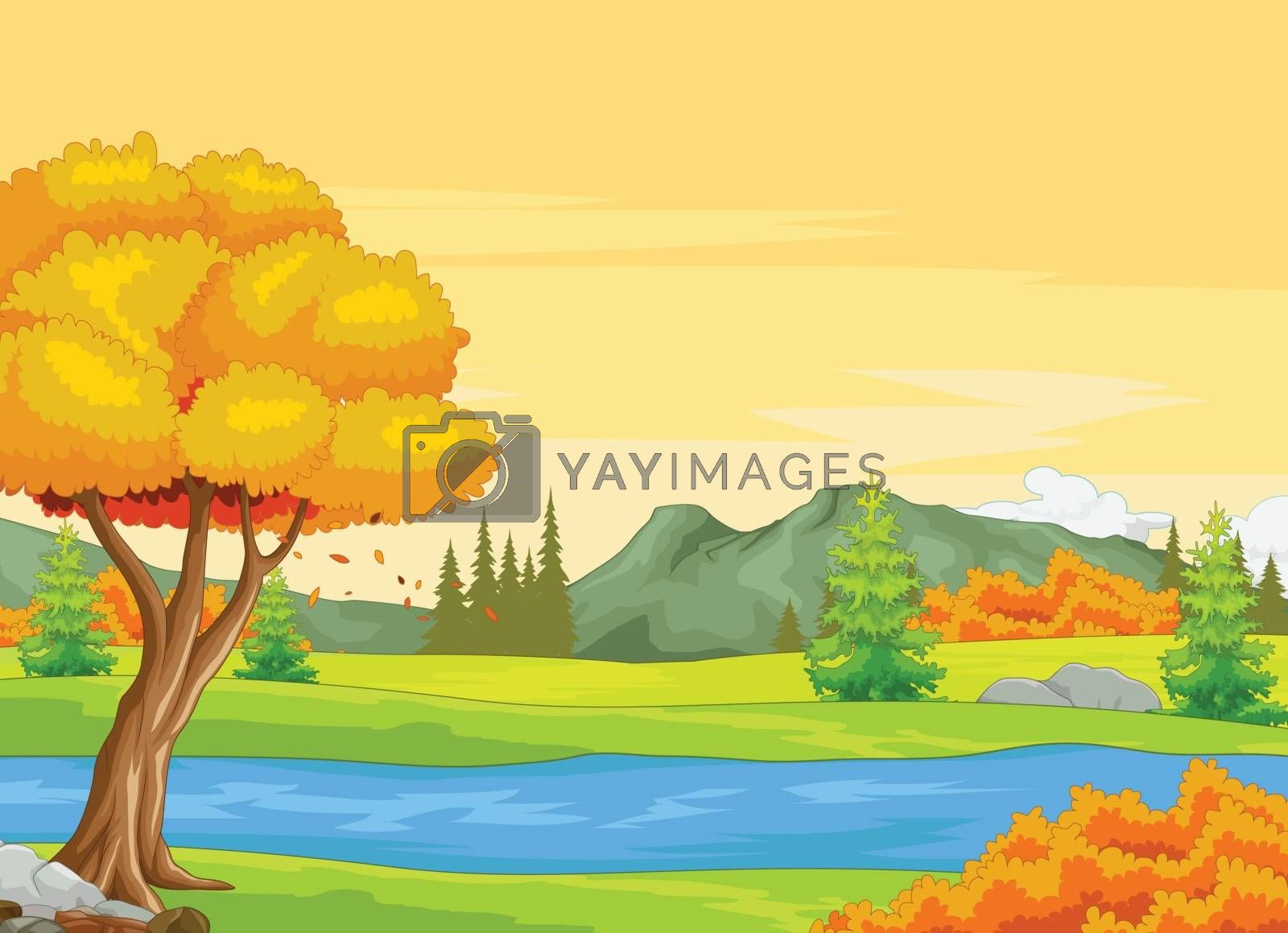 Royalty free image of River With Autumn Forest Background by sujono