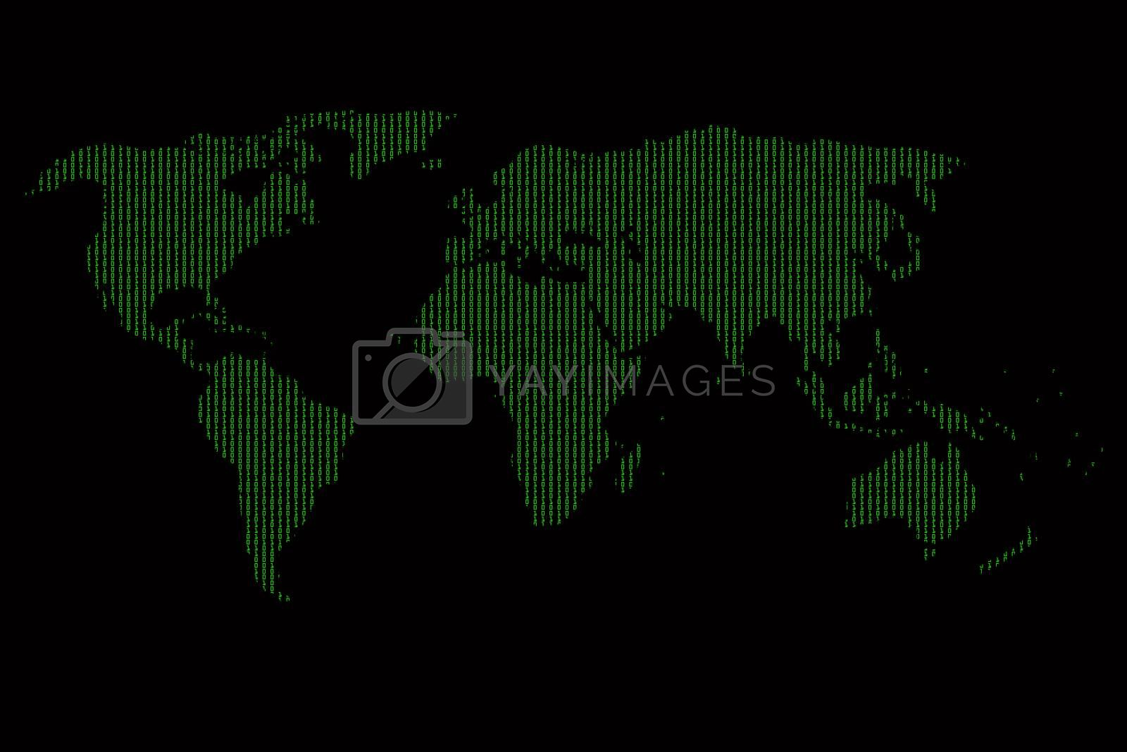 Digital World Map with binary code, on black background