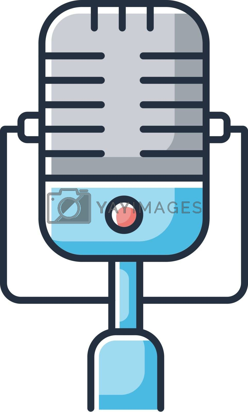 Vintage microphone RGB color icon. Mic to perform live on stage. Musical concert. Announcement on radio. Karaoke and entertainment. Advertisement during show. Isolated vector illustration