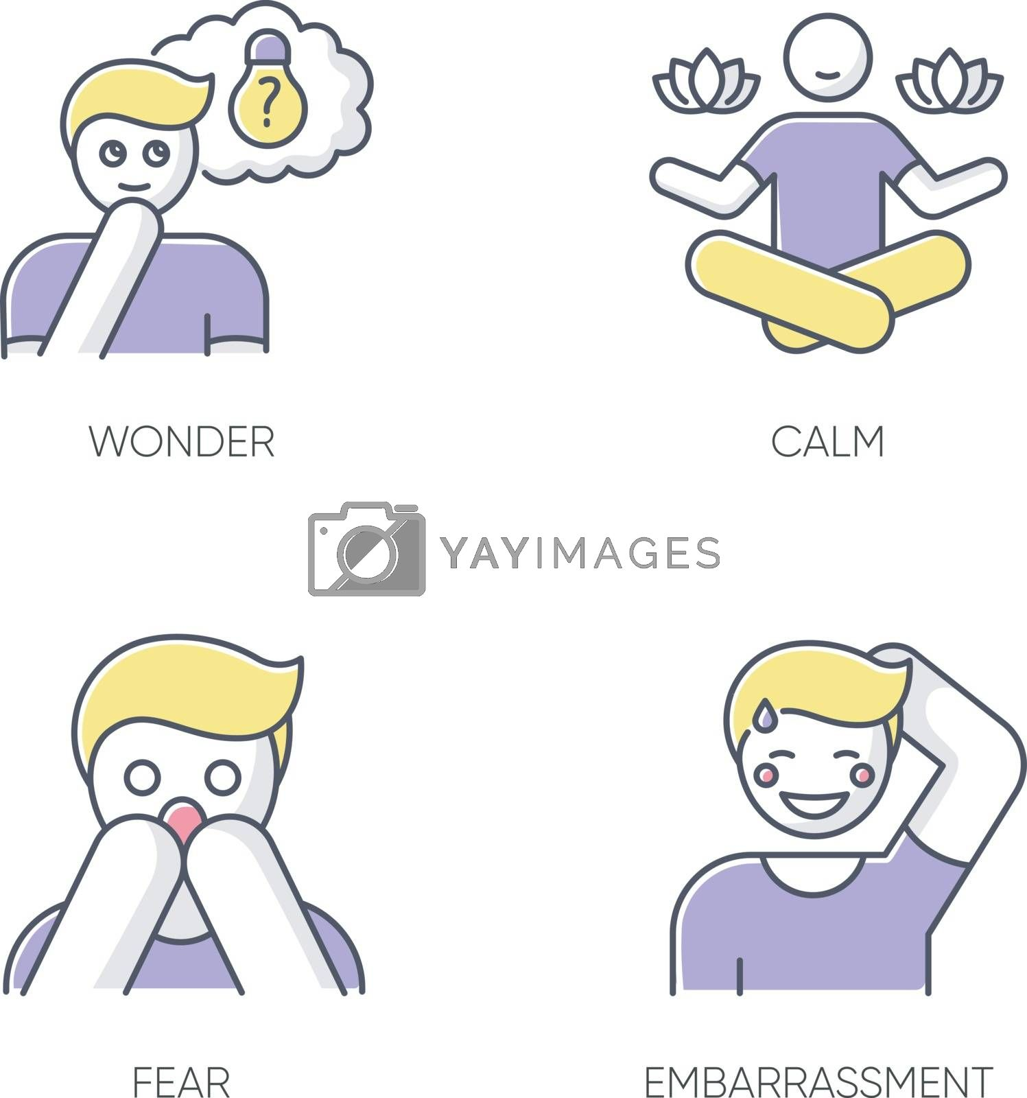 Mental state RGB color icons set. Sense of wonder. Creative thinking. Man feeling calm. Fear from phobia. Person feeling shy. Yoga for mental health. Panic attack. Isolated vector illustrations