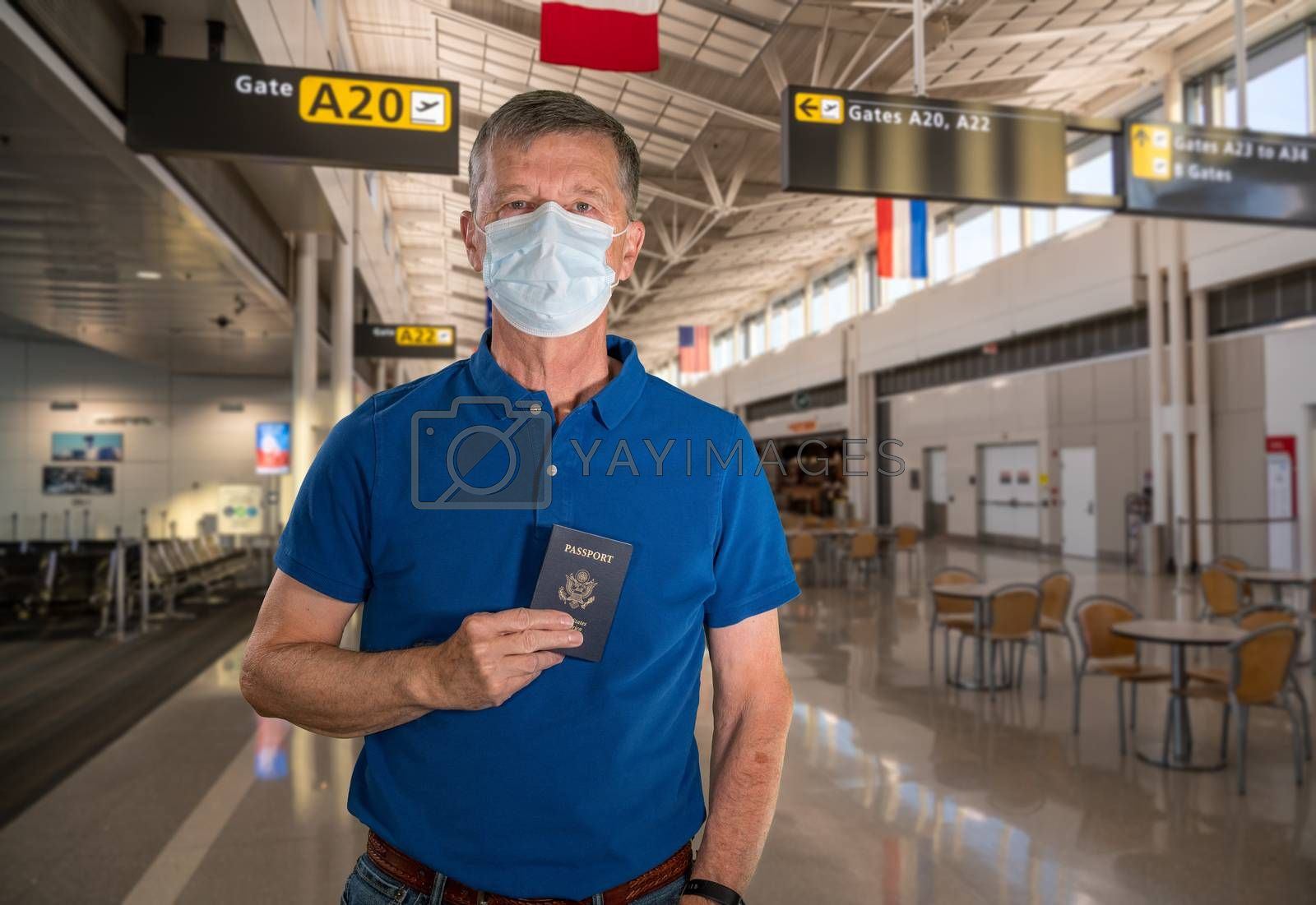 Mockup of airport terminal with casual senior adult holding passport and wearing mask against coronavirus
