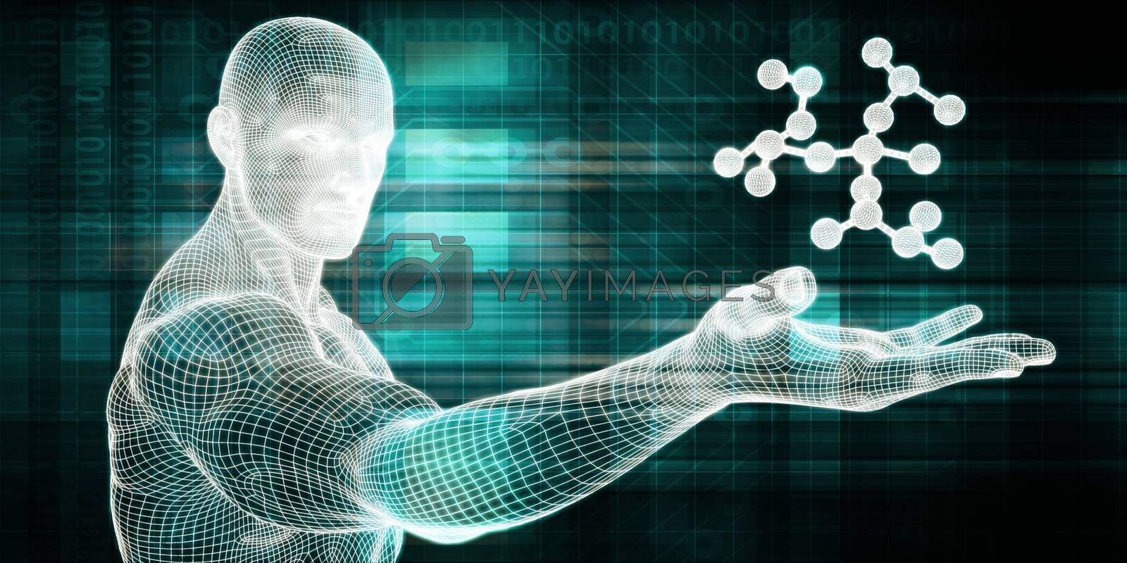 Science and Technology with Man Holding Molecule