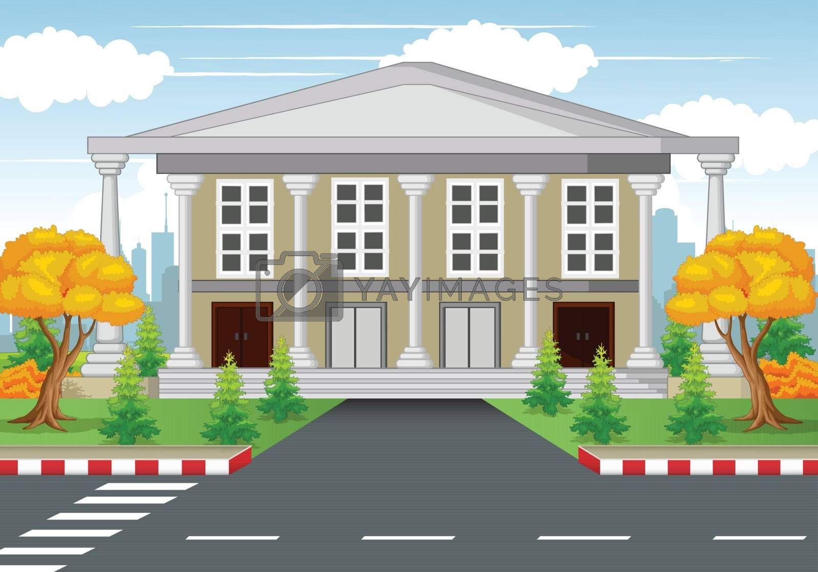 Royalty free image of White House With Road and Town Background by sujono