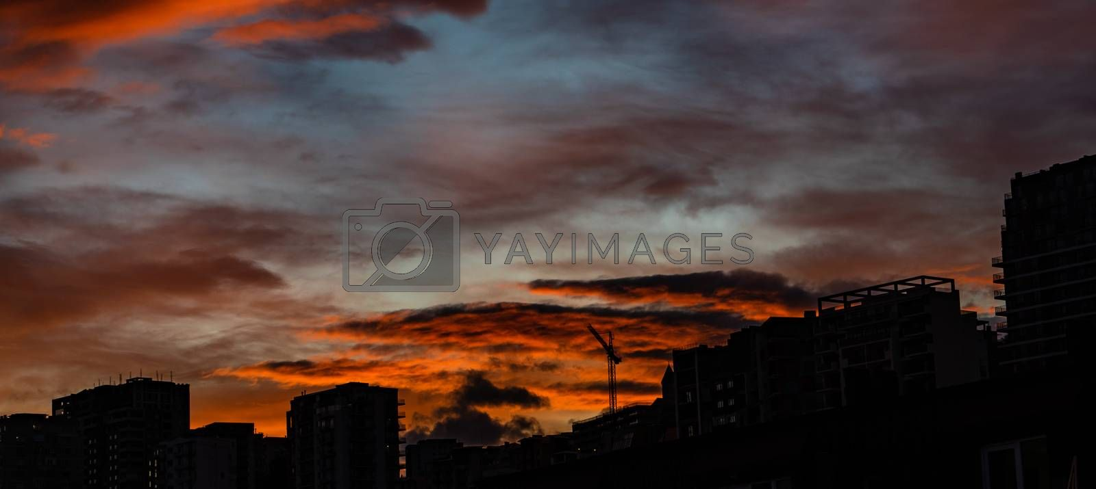 Bloody orange sunset over the downtown of Tbilisi, capital city of Georgia