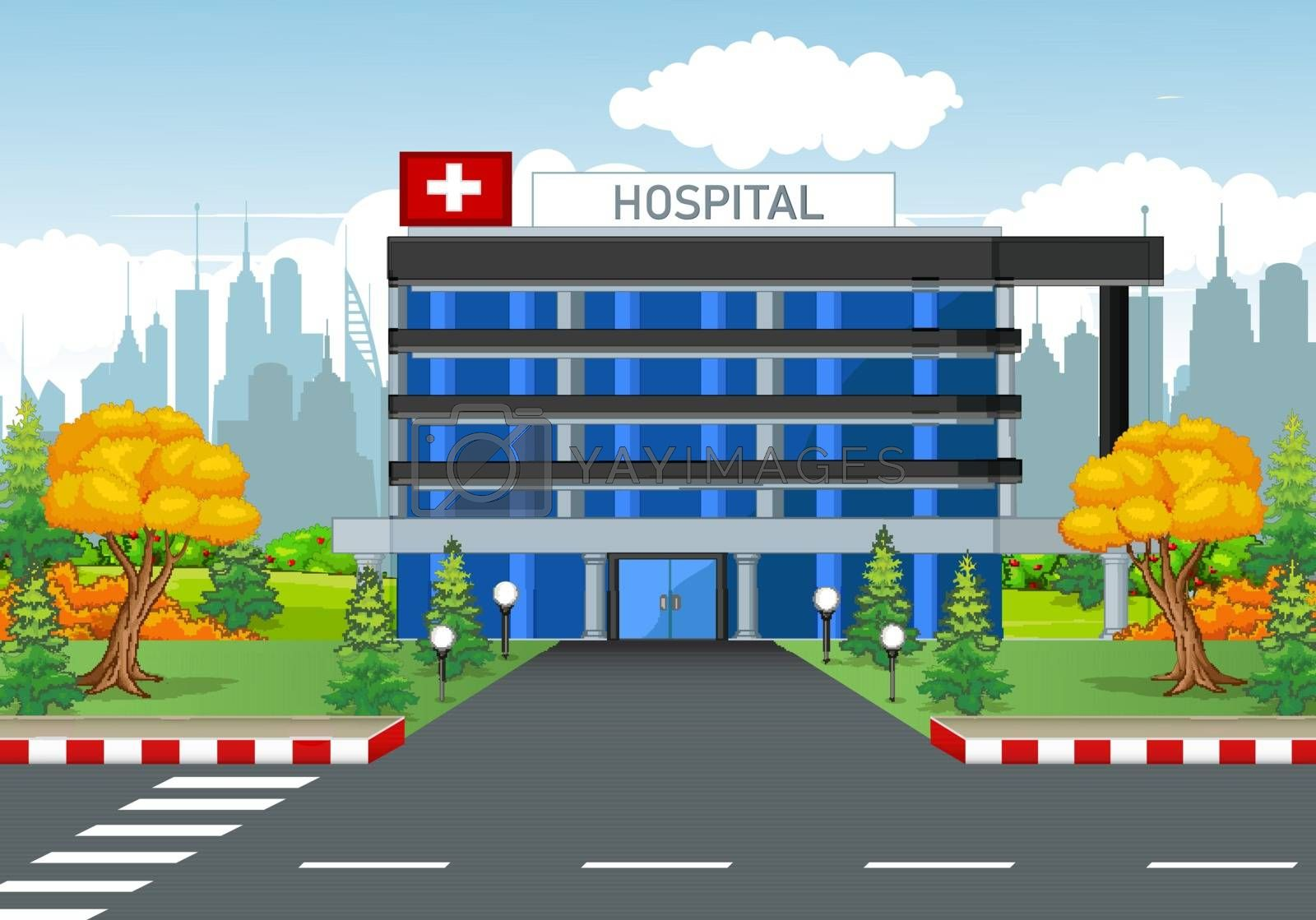 Royalty free image of Hospital Building With Town Background by sujono