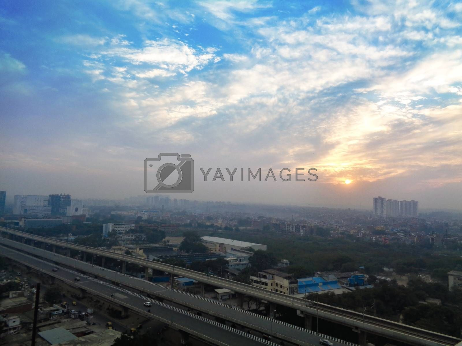 City scape india with sunny dramatic sky background