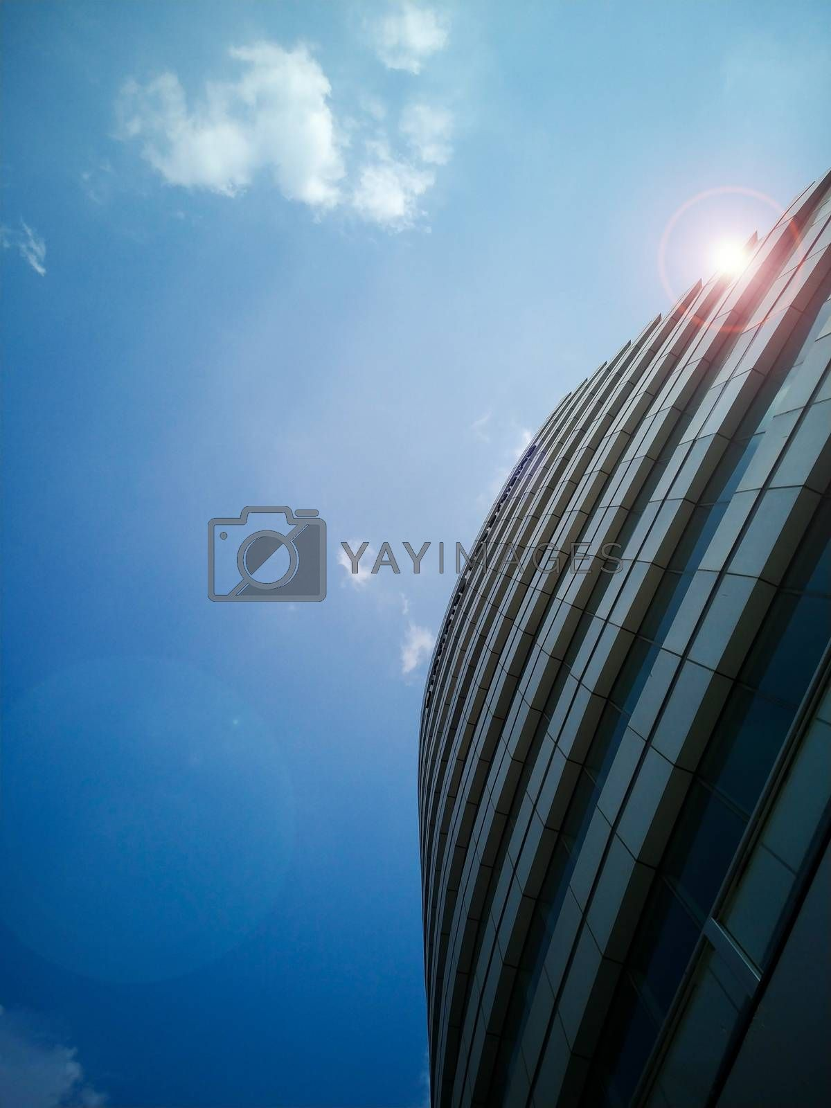 Low angle view of commercial building tower