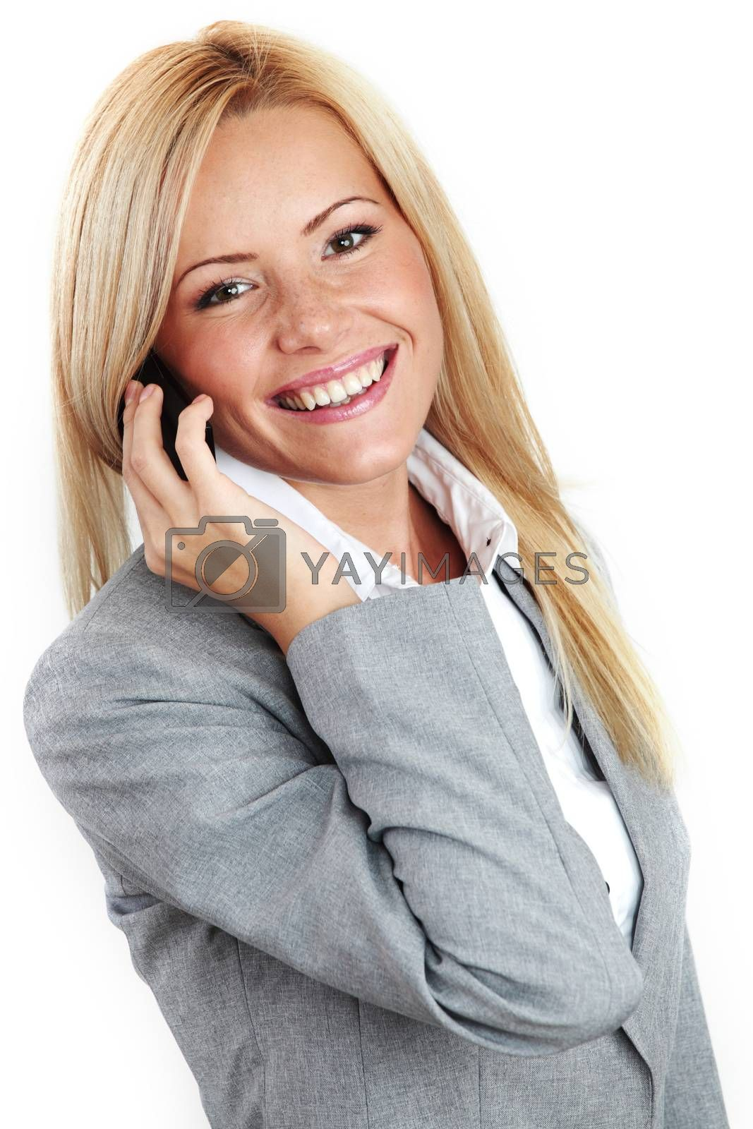 business woman call phone isolated on white background