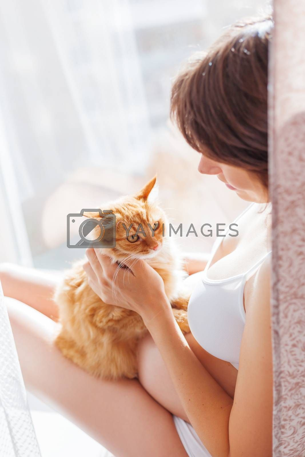 Pregnant woman in white underwear with cute ginger cat. Young woman expecting a baby. Risk of infection toxoplasmosis.