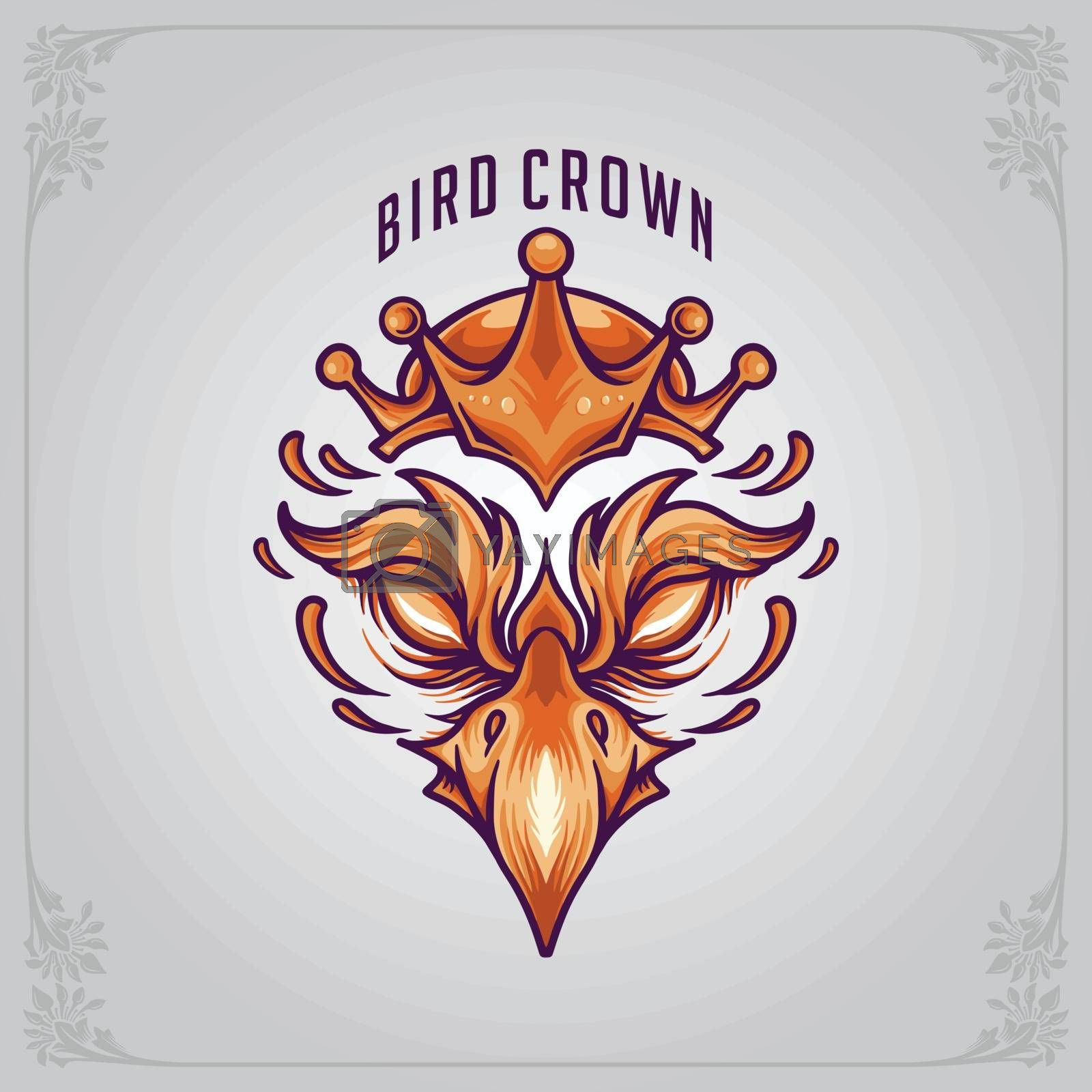 Bird Mascot with crowned Logo Vector