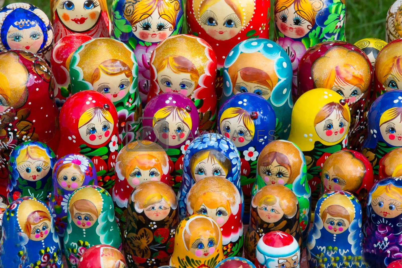 Many Russian matreshkas. The Russian national doll is a souvenir of nesting dolls