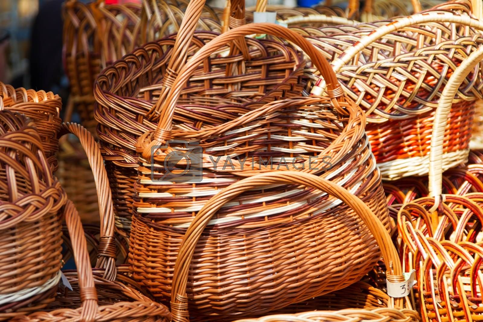 Wicker baskets made of straw
