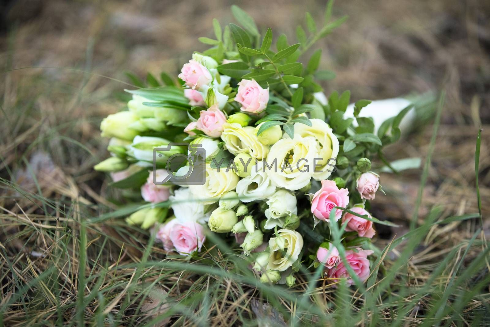 Bridal bouquet. A bouquet of the bride on the grass. The bride's bouquet