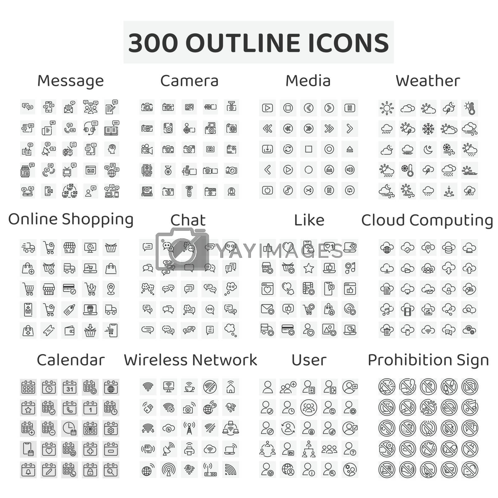 Set of 300 outline icons : message ,camera ,media ,weather ,online shopping , chat ,like ,cloud computing ,calendar ,wireless network ,user ,prohibition sign.