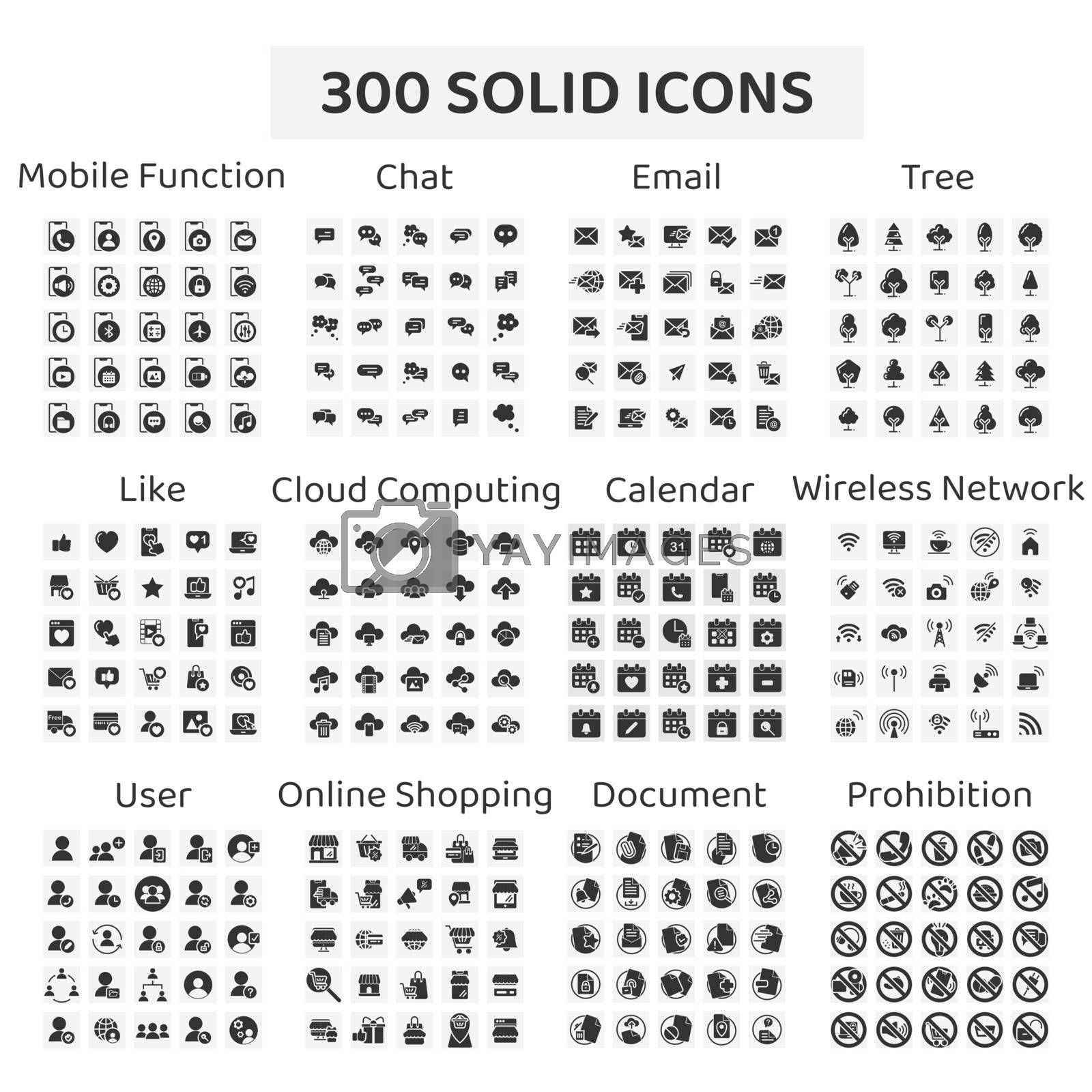 Set of 300 solid icons : mobile function ,chat ,email ,tree ,like ,cloud computing ,calendar ,wireless network ,user ,online shopping ,document ,prohibition sign.