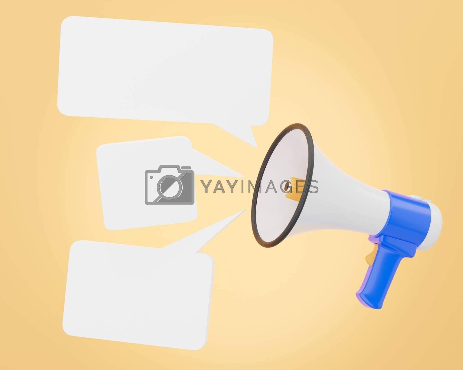 The megaphone is voicing notification sound and appears as an empty message box for advertising bullhorn or blue and white loudspeaker on orange background. Concept of communication. 3D illustration.