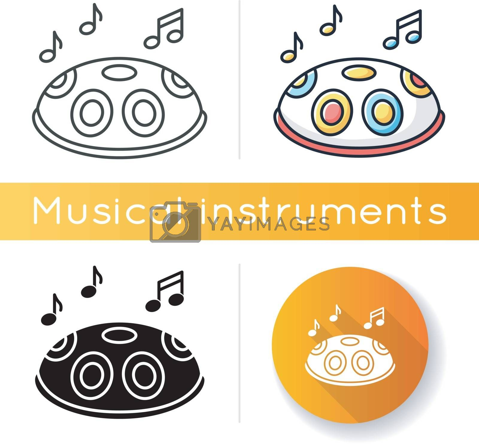 Handpan icon. Traditional musical instrument for meditation and relaxation. Perform in band with percussion. Indian sphere drum. Linear black and RGB color styles. Isolated vector illustrations