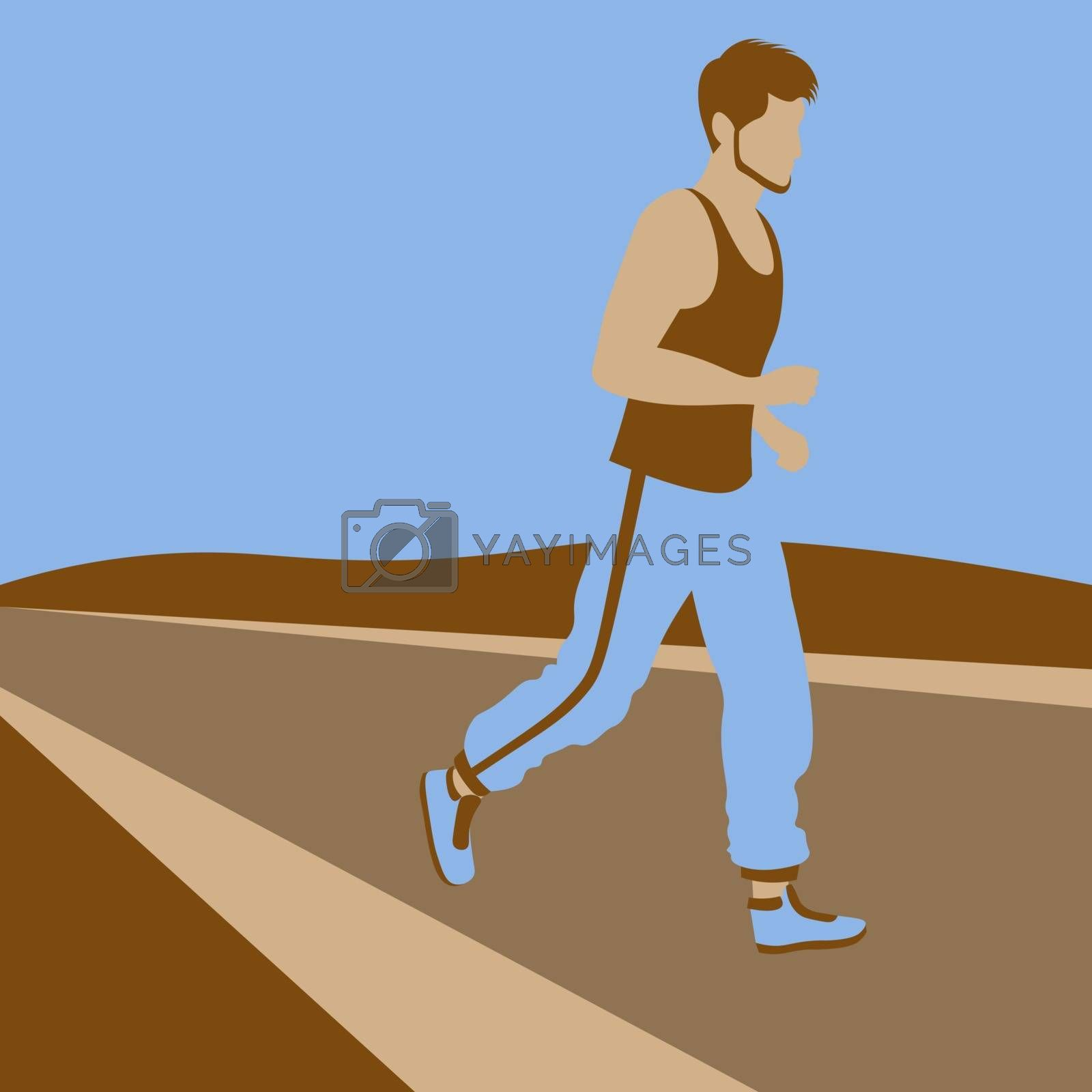 colorful vector illustration of faceless man in sportswear jogging outdoors