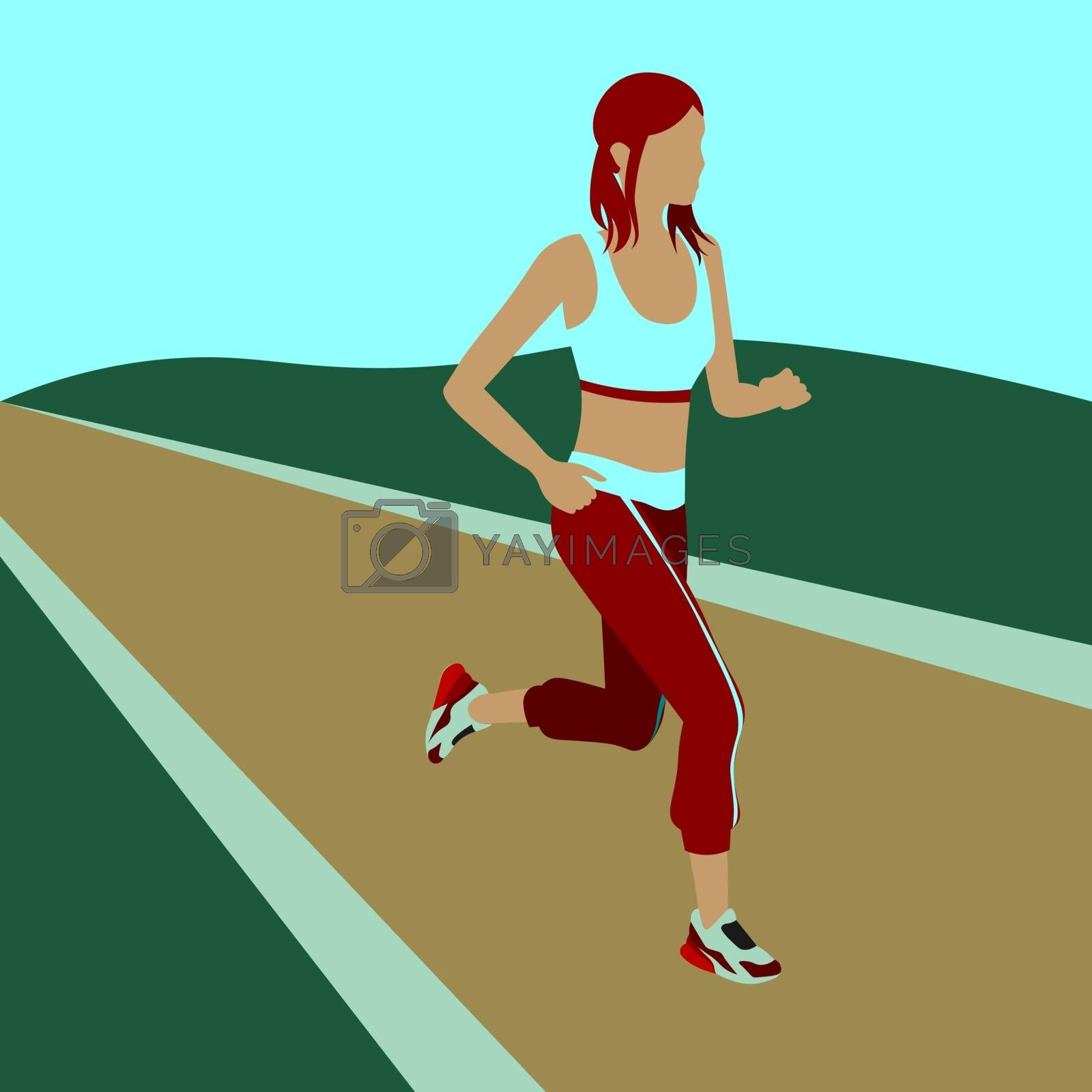 colorful vector illustration of faceless girl in sportswear jogging outdoors