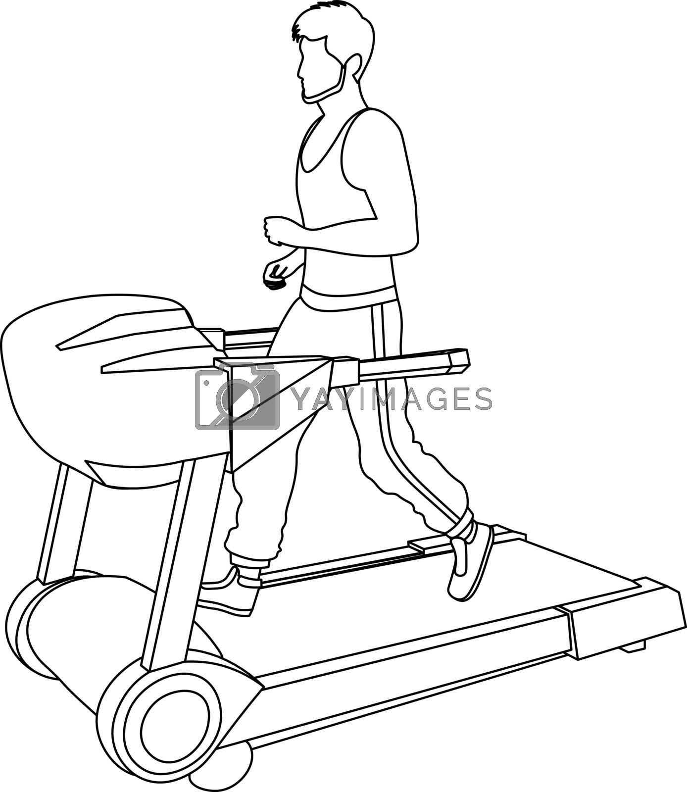 Royalty free image of line art of faceless man running on the treadmill by paranoido