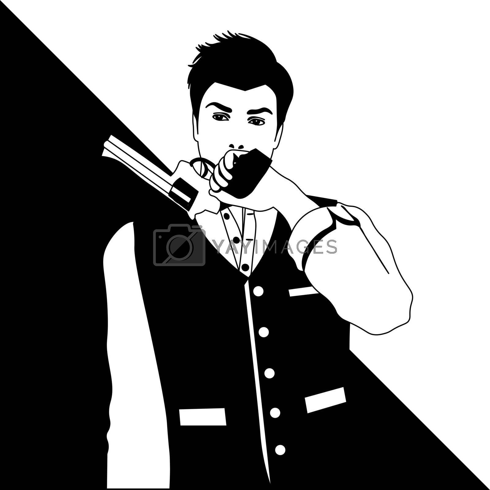 black and white line art of elegant old-fashioned man in vest holding a revolver