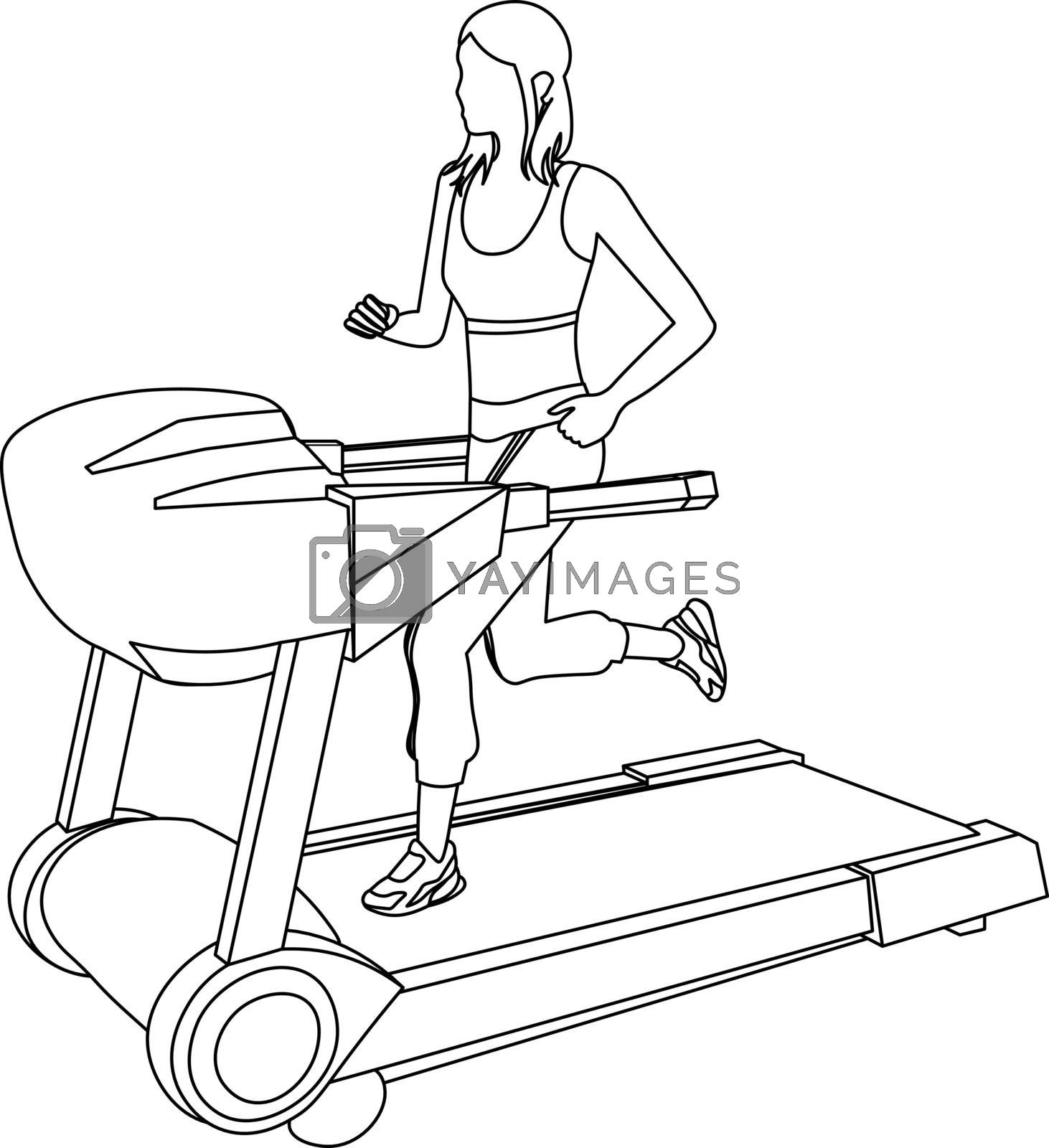 sketch line art of faceless girl with ponytails running on the treadmill