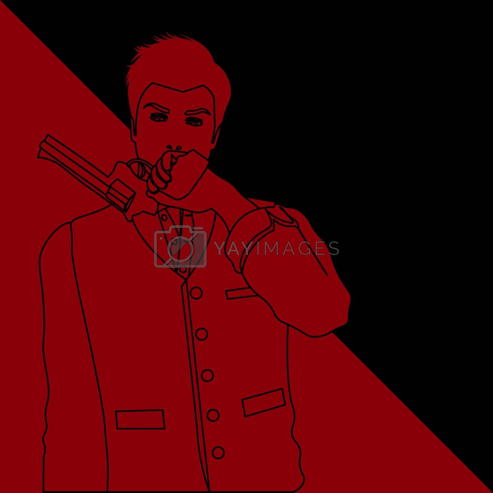 black and red contour drawing of old-fashioned man holding a revolver