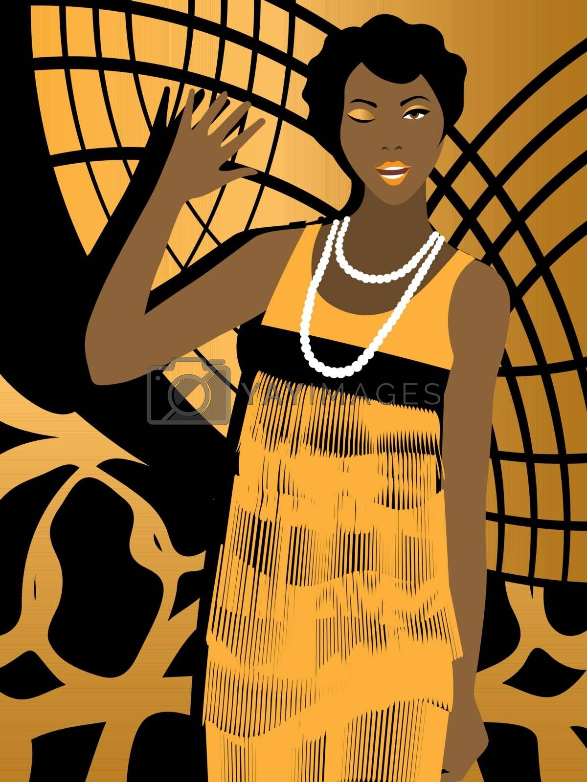 cheerful 20s' african american woman with short hairstyle winking and waving on black and gold geometric background
