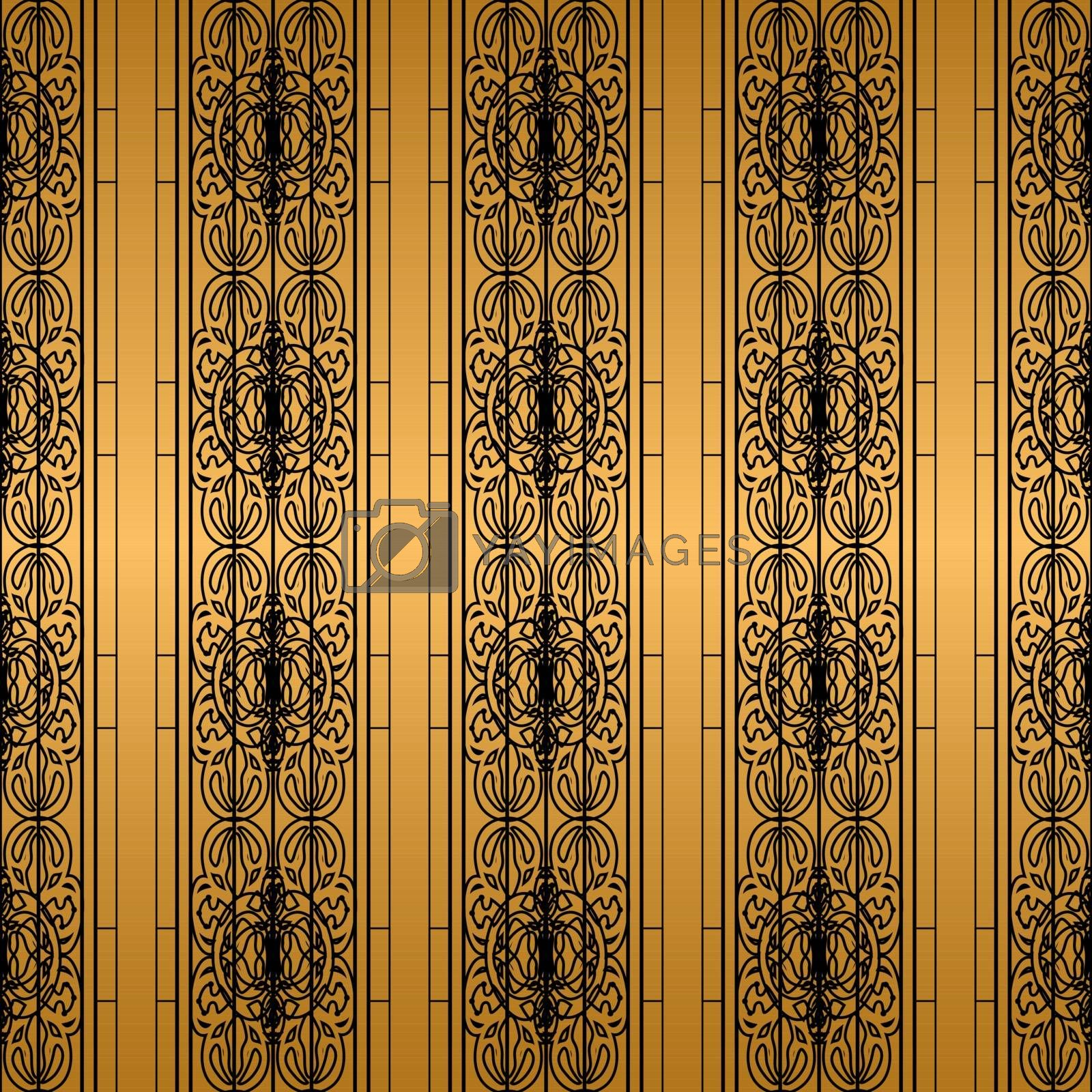 luxury black and gold wallpaper pattern with elegant victorian tracery